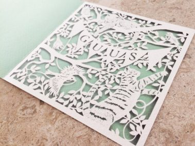 Custom Birth Announcement - Guus - total in marble side front - Whispering Paper