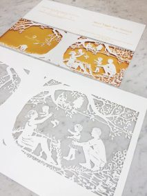 Papercut Birth Announcement - Aksel - Original with card on marble side-blurred details - Whispering Paper