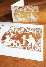 Papercut Birth Announcement - Aksel - Original with card table - Whispering Paper