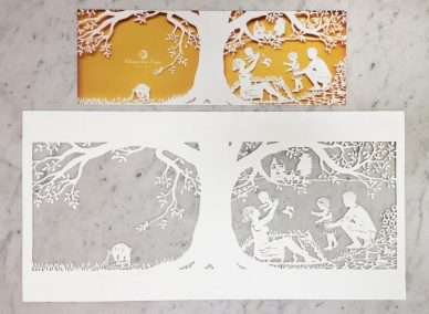 Papercut Birth Announcement - Aksel - Original with card total on marble - Whispering Paper