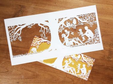 Papercut Birth Announcement - Aksel - Original with card underneath - Whispering Paper