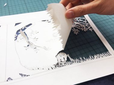 Papercut Birth Announcement - Aksel - Removing paper - detail toys - Whispering Paper