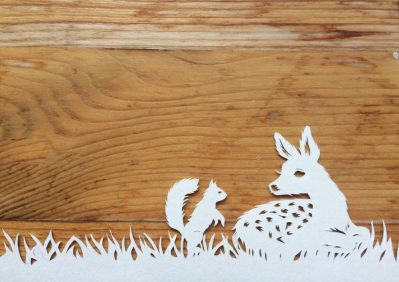 Papercut Birth Announcement Card - Noor - Detail Fawn & Squirrel - Whispering Paper