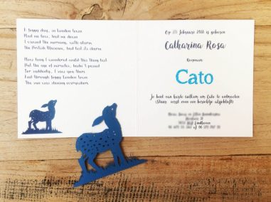 Custom Birth Announcement Cards - Fairytale Forest - Cato - Papercut fawn with interior card - Whispering Paper