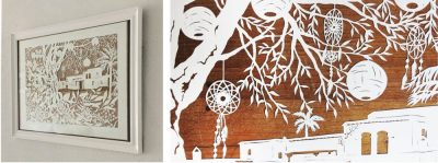 Wedding Anniversary Papercut - Ibiza - Inspiration from the Client - 2: Framed & Detail Dreamcatchers - Whispering Paper