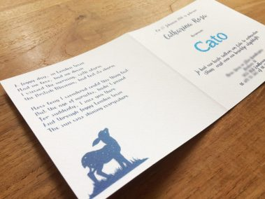 Custom Birth Announcement Cards - Fairytale Forest - Cato - Card side interior - Whispering Paper