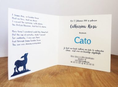 Custom Birth Announcement Cards - Fairytale Forest - Cato - Card standing interior - Whispering Paper