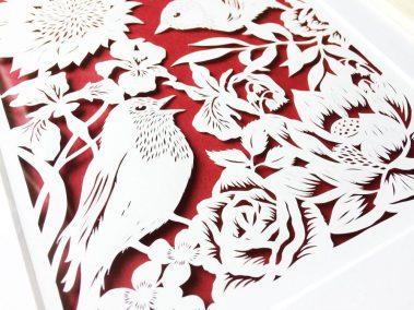 Bespoke Papercut - Flowers and Birds - Framed - Bottom - Whispering Paper