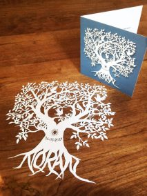 Personal Birth Announcement with Lifetree - Noran - Papercut with Card 2 - Whispering Paper