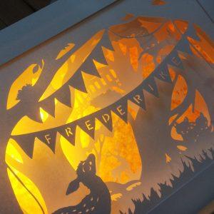 Bespoke Nightlight Dioramas – Frederike – Side view – Illuminated - Square - Whispering Paper