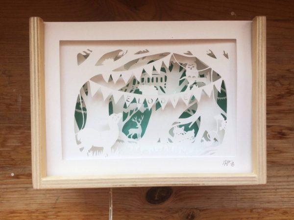 Bespoke Nightlight Dioramas - Elodie - Front view - Unlit - Whispering Paper