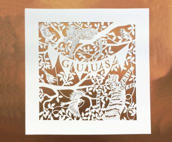Custom Birth Announcement - Guus - Total on gold - Whispering Paper