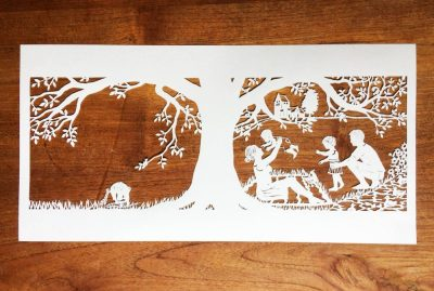 Papercut Birth Announcement - Aksel - Papercut total on wood - Whispering paper