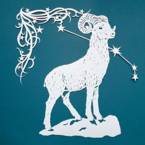 Papercut Illustrations for Libelle Magazine - Aries - square - Whispering Paper