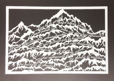 Papercut Anniversary Gift - Mountain Poem - Total on black - Whispering Paper