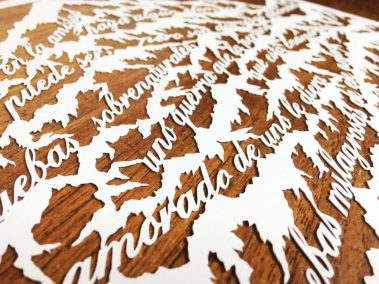 Papercut Anniversary Gift - Mountain Poem - Detail left side - Whispering Paper