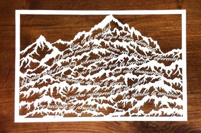 Papercut Anniversary Gift - Mountain Poem - Total on Wood - Whispering Paper