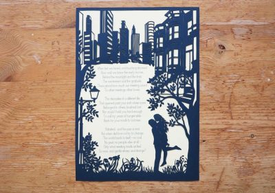 Papercut Birthday Gift - Cityscape poem - Total on wood - Whispering Paper