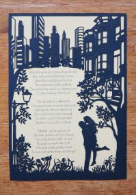 Papercut Birthday Gift - Cityscape poem - Total on wood 3 - Whispering Paper