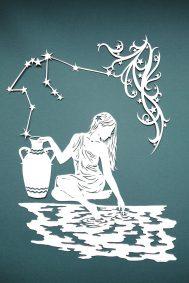 Papercut Illustrations for Libelle Magazine - Aquarius - Whispering Paper