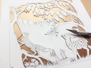 Custom Birth Announcement Cards - Fairytale Forest - Cato - Work in Progress back view - Whispering Paper