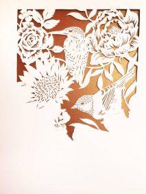 Bespoke Papercut - Flowers and Birds - Work in Progress - Whispering Paper