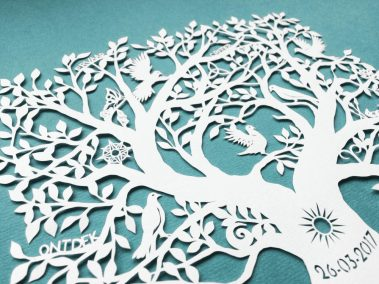 Personal Birth Announcement with Lifetree - Noran - Top Side - Whispering Paper
