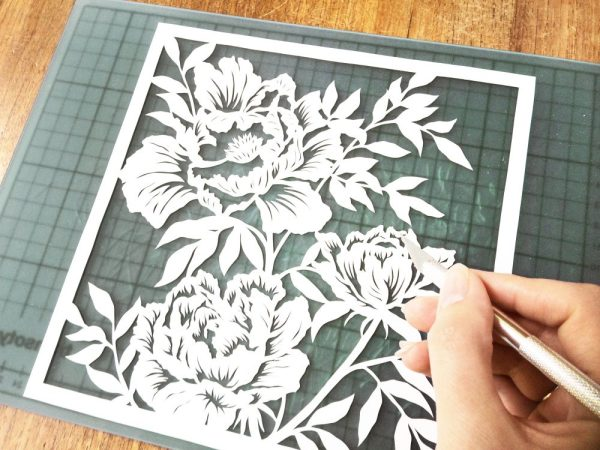 Template cutting Peonies