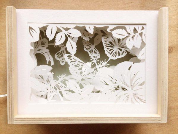 Diorama Nightlight - Butterflies & Hibiscus - Total Jade