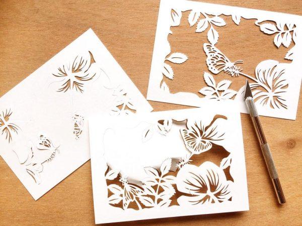 Diorama Nightlight - Butterflies & Hibiscus - Work in Progress
