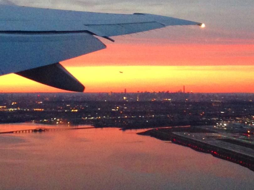 Sunset plane Manhattan