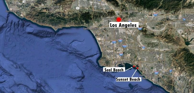 seal beach sunset beach map