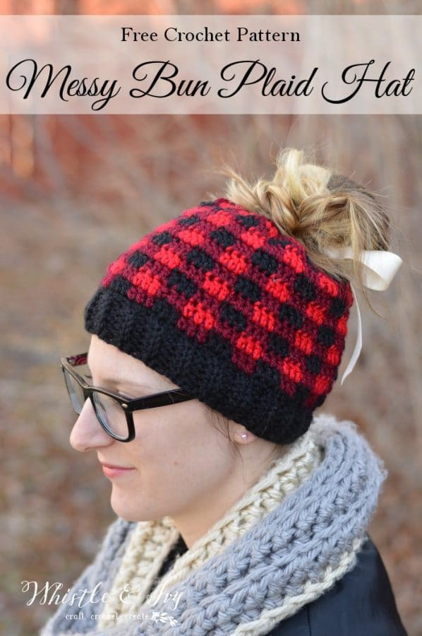 Messy Bun Plaid Hat Whistle And Ivy