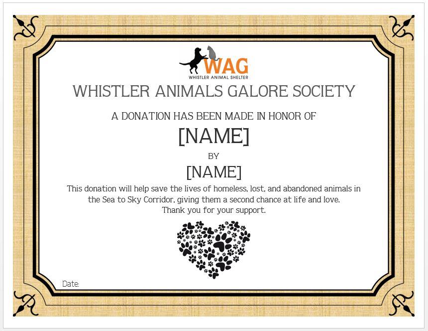 Memorial Donation Whistler Animals Galore Wag