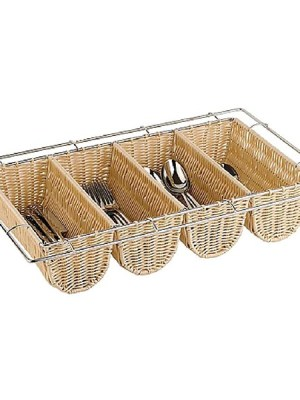 Rattan cutlery dispenser with chrome plated wire frame.