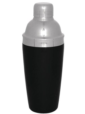 Stainless steel shaker with lid and pourer.