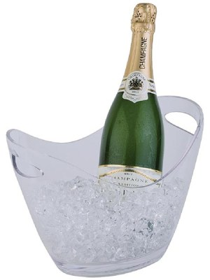 Clear acrylic buckets for chilling or displaying wine or champagne bottles.