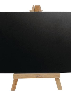 A5 chalkboard with wooden easel. Use liquid chalk markers to write on the board and simply wipe away with a damp cloth to write something new.