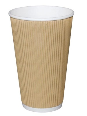 Cups with a unique corrugated insulating ripple wrap to provide high levels of heat retention and superior protection while handling. The dome lids keep drinks at serving temperature and reduce the risk of spillage.
