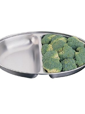 Stainless steel oval serving dish with two divisions. A range of sizes