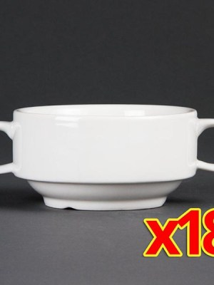 Buy more and save with these great value bulk deals. Includes 18 x 14oz handled soup bowls.
