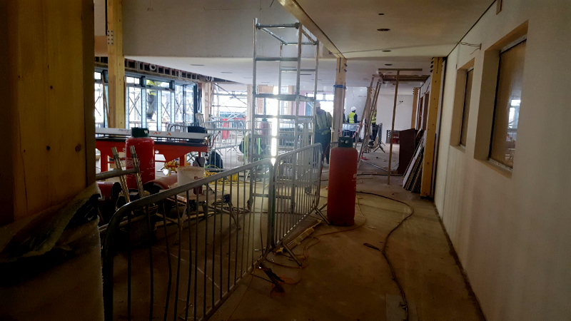 Construction work in progress at Deans