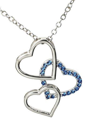 Pendentif Coeur trio en argent 925 avec des zircons bleus modèle by White Alpina. Pendentif pour femmes. Livré dans un écrin avec une chaîne