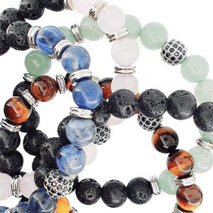 Bracelet en pierre naturelle et pierre de lave