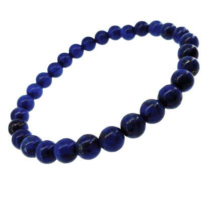 Magnifique Bracelet en Lapis-Lazuli avec perles 6mm. Finition brillant