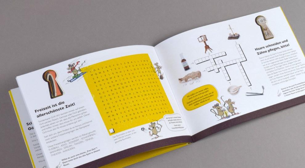 Innenseite des Aktivheftes für Kinder mit Rätseln