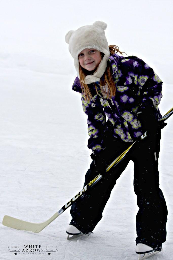 backyard hockey, ice skating, northwoods living