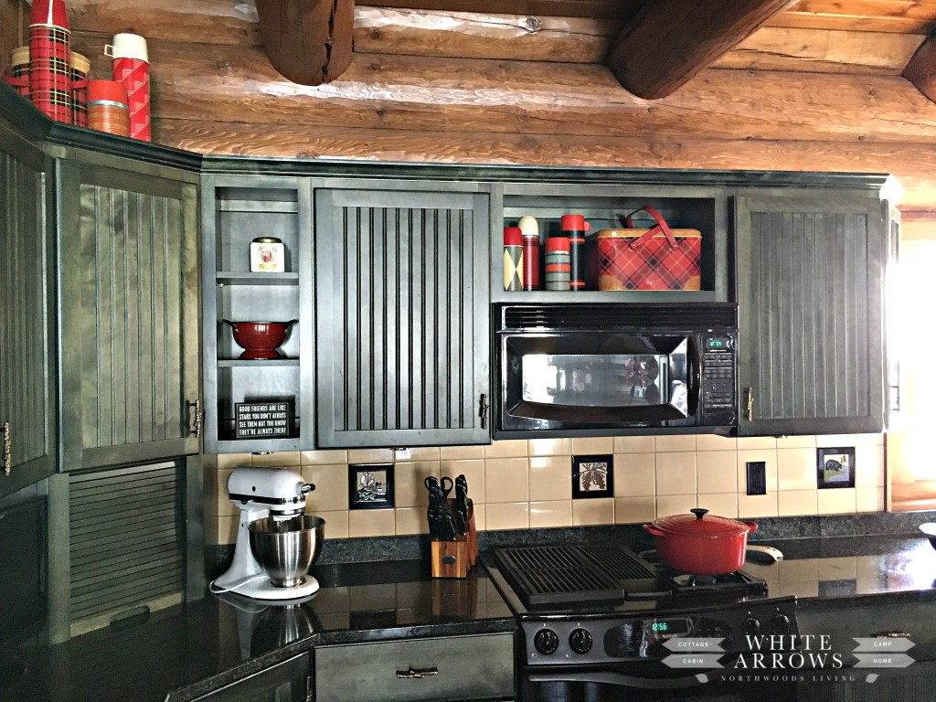 green cabinets-kitchen-thermos-log home