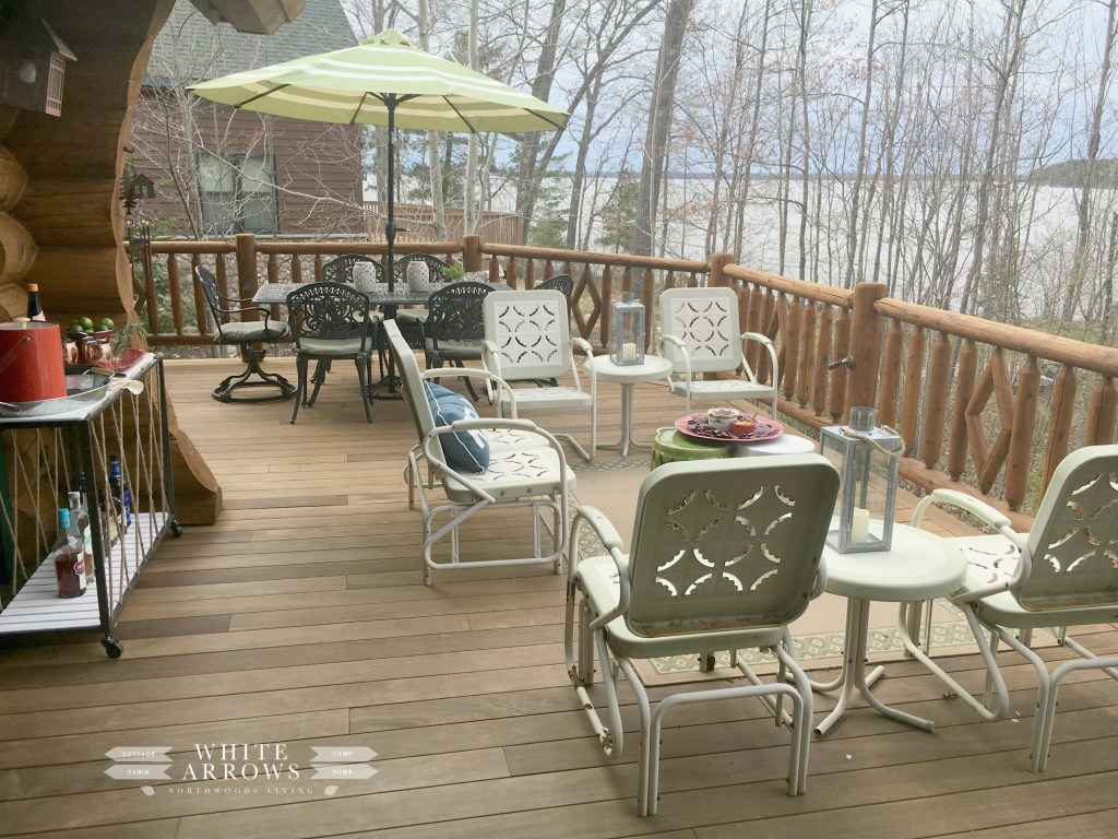 Lakeside Living, entertaining, deck, summer, log cabin living, cabin