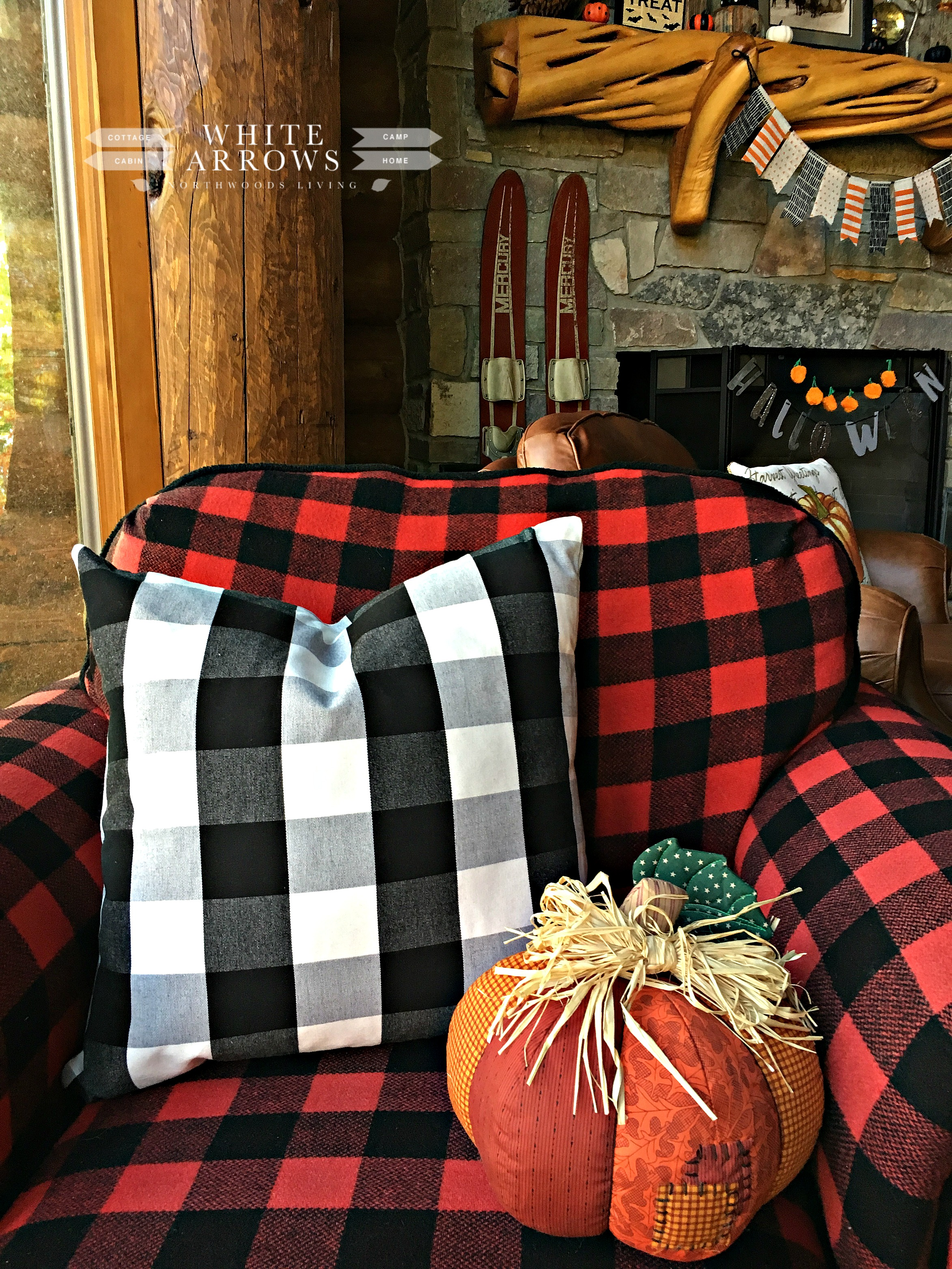 Buffalo Plaid, Fall Decor, Quilted Pumpkin, Autumn Decor, Red And Black  Check